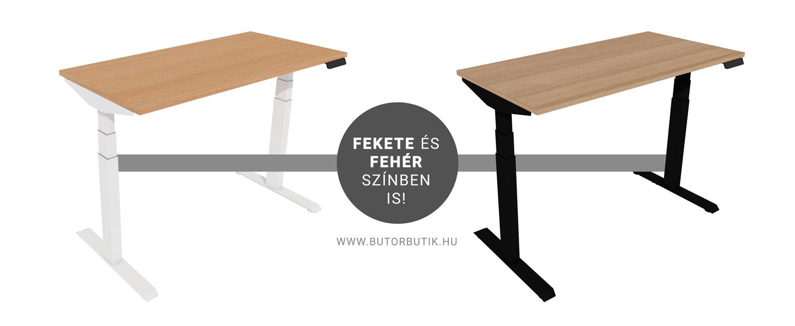 Elektromosan emelhető állítható asztal fekete és fehér lábazat színnel is.